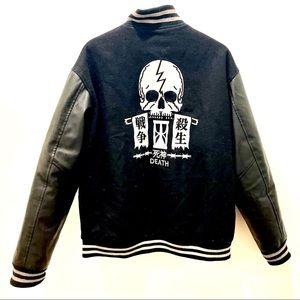 Leather and wool varsity jacket punk style